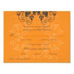 "fatfatin Floral Flourish Charcoal Orange RSVP Card 4.25"" X 5.5"" Invitation Card"