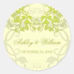 fatfatin Floral Flourish Lime Wedding Sticker Sticker