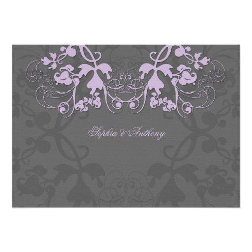 fatfatin Floral Flourish Purple Wedding Invitation Personalized Announcements