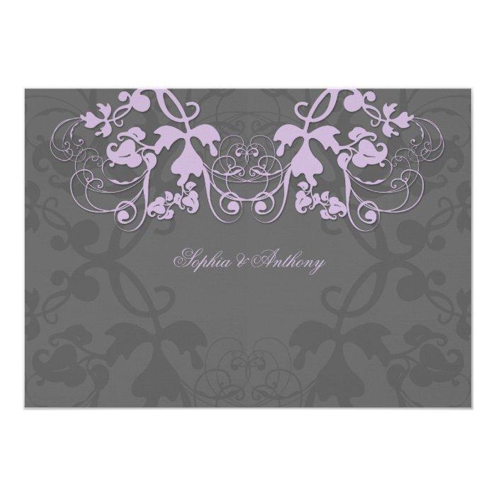 fatfatin Floral Flourish Purple Wedding Invitation
