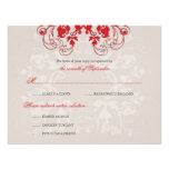 fatfatin Floral Flourish Red (R) Wedding RSVP Card Personalized Announcements