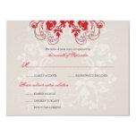 "fatfatin Floral Flourish Red (R) Wedding RSVP Card 4.25"" X 5.5"" Invitation Card"