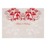 fatfatin Floral Flourish Red Wedding Invitation Custom Announcement
