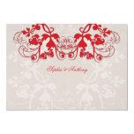 "fatfatin Floral Flourish Red Wedding Invitation 5"" X 7"" Invitation Card"