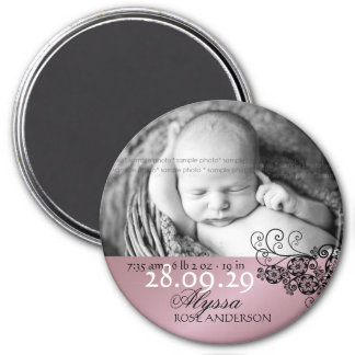 fatfatin Floral Paisley Black Birth Announcement 3 Inch Round Magnet