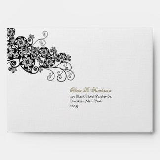 fatfatin Floral Paisley Ink Black Wedding Envelope