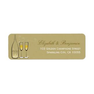 fatfatin Gold Champagne Bubbles Address Labels