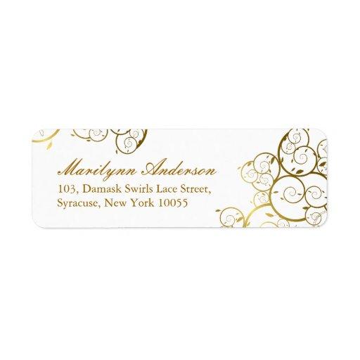 fatfatin Golden Spirals Wedding Address Label Return Address Labels