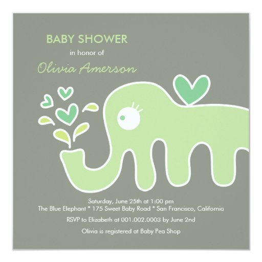 fatfatin green elephant neutral baby shower invite personalized