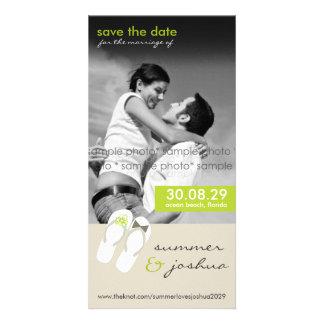 fatfatin Green Flip Flops Save Date Announcement Photo Cards