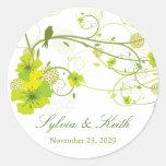 fatfatin Green Hibiscus Swirls & Swallows Wedding Round Stickers