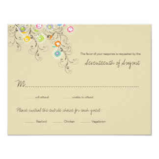 "fatfatin Groovy Flower Garden 2 Wedding Invitation 4.25"" X 5.5"" Invitation Card"