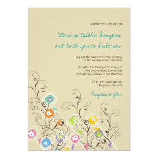"fatfatin Groovy Flower Garden 2 Wedding Invitation 5"" X 7"" Invitation Card"