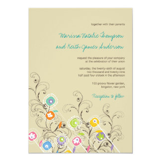fatfatin Groovy Flower Garden 2 Wedding Invitation