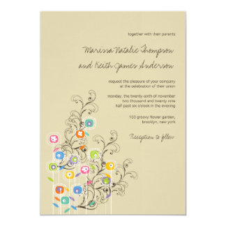 "fatfatin Groovy Flower Garden Wedding Invitation 5"" X 7"" Invitation Card"
