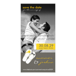 fatfatin Hibiscus Flip Flops Save The Date Card