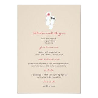 fatfatin Hibiscus Flip Flops Wedding Menu Card