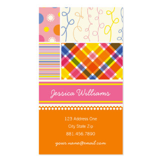 fatfatin Hot Pink Combo Pattern Profile Card Double-Sided Standard Business Cards (Pack Of 100)
