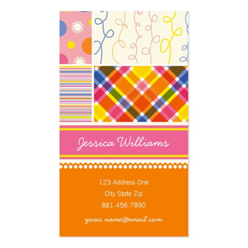 fatfatin Hot Pink Combo Pattern Profile Card Business Cards