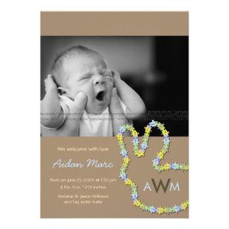 fatfatin Jigsaw Bunny Baby Boy Birth Announcement Custom Invite