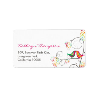 fatfatin Kissing Summer Birds Address Labels
