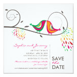 """fatfatin Kissing Summer Birds Save The Date 5.25"""" Square Invitation Card"""