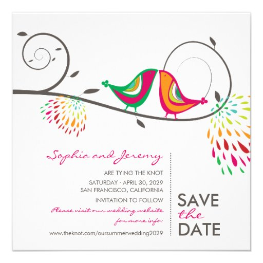 fatfatin Kissing Summer Birds Save The Date Invite