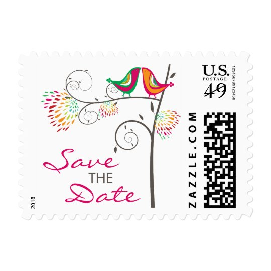 fatfatin Kissing Summer Birds Save The Date Stamps
