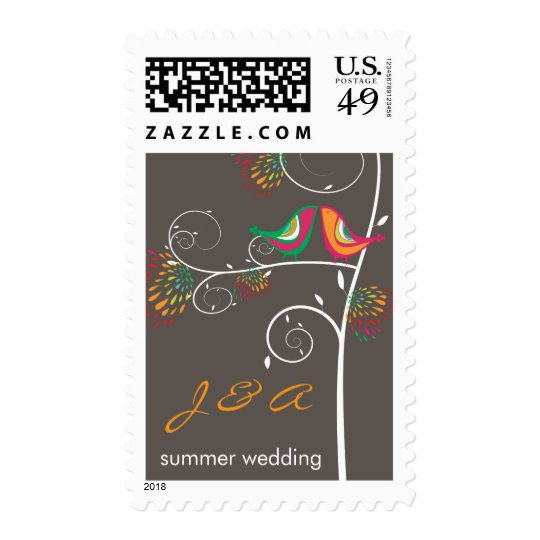 fatfatin Kissing Summer Birds Wedding Stamps