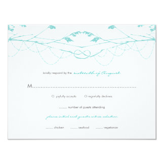 """fatfatin Knotted Love Trees 02 Wedding RSVP Card 4.25"""" X 5.5"""" Invitation Card"""