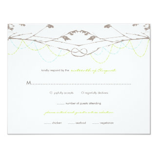 """fatfatin Knotted Love Trees 04 Wedding RSVP Card 4.25"""" X 5.5"""" Invitation Card"""