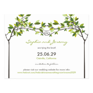 fatfatin Knotted Love Trees Save The Date Postcard