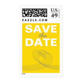fatfatin Loopy Love Lines Yellow Save The Date Postage Stamps