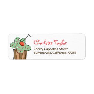 fatfatin Mint Cherry Cupcake Address Labels