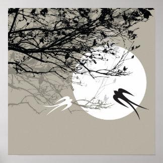 fatfatin Moonlight Swallows Gray Poster