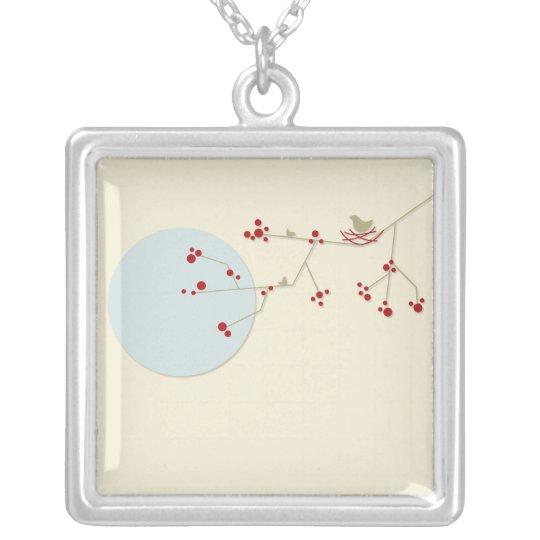 fatfatin Nesting Bird + Family *01 Silver Necklace