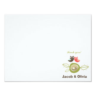 fatfatin Nesting Owl Family Thank You Card Personalized Announcement