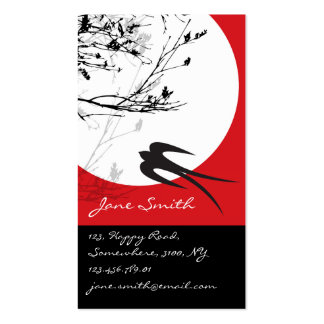 fatfatin Oriental Swallows in Moonlight Business Cards