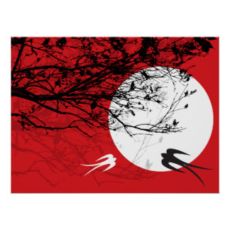 fatfatin Oriental Swallows In Moonlight Poster