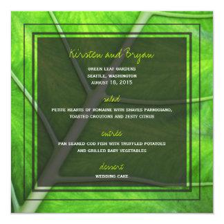 fatfatin Photography Green Leaf Wedding Menu Card