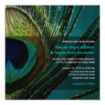 fatfatin Photography Peacock Feather Wedding 5.25x5.25 Square Paper Invitation Card