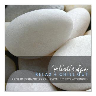 fatfatin Photography | White Pebbles Spa Promotion 5.25x5.25 Square Paper Invitation Card