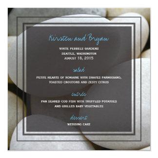 fatfatin Photography White Pebbles Wedding Menu Card