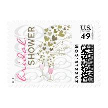 fatfatin Pink Champagne Cheers Bridal Shower Stamp Postage Stamp