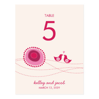 fatfatin Pink Dot Flowers Kissing Birds Table Card