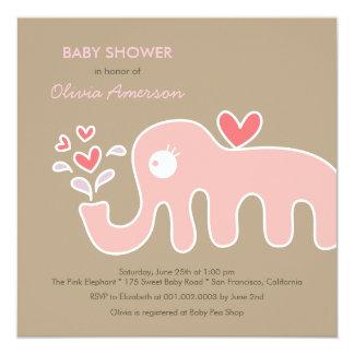 fatfatin Pink Elephant Girl Baby Shower Invitation