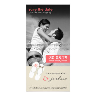 fatfatin Pink Flip Flops Save Date Announcement Photo Card
