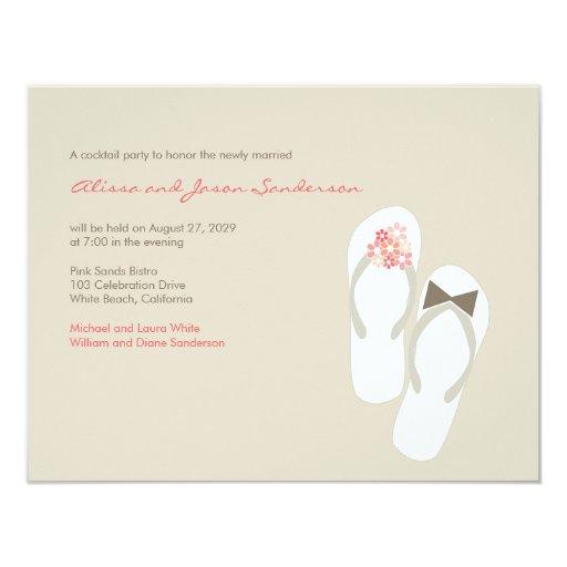"fatfatin Pink Flip Flops Wedding Party Invitation 4.25"" X 5.5"" Invitation Card"