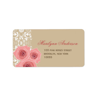 fatfatin Pink Roses Damask Lace Address Labels