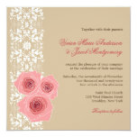 fatfatin Pink Roses Damask Lace Wedding Invite Invitations
